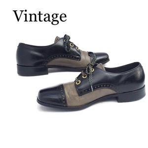 Vintage 2-Tone LaceUp Brogue Gray Black 8